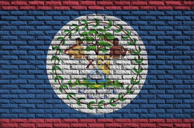 De vlag van belize is geschilderd op een oude bakstenen muur