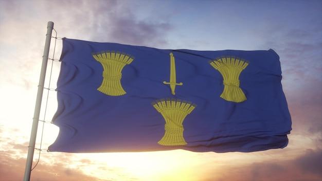 De vlag van cheshire, engeland, die in de wind, de hemel en de zonachtergrond golven. 3d-rendering.