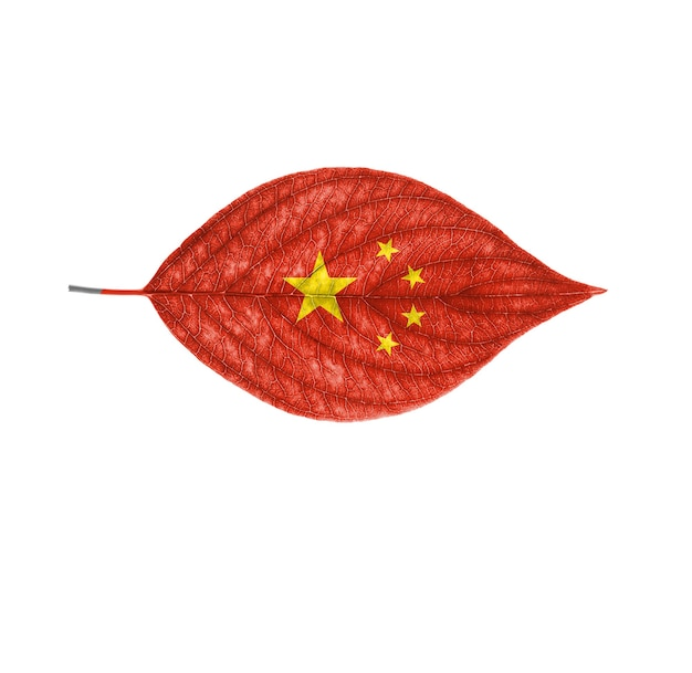 De vlag van china op een blad is geïsoleerd op een witte achtergrond