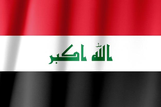 De vlag van irak is afgebeeld op een sportstof met veel vouwen. sport team banner