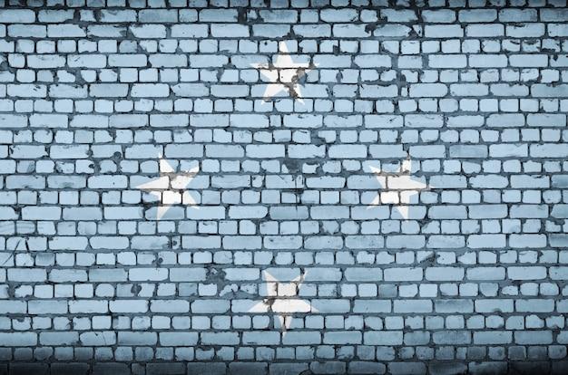 De vlag van micronesië is geschilderd op een oude bakstenen muur