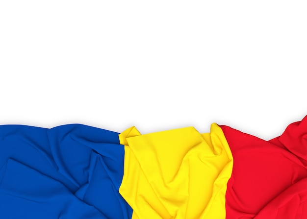 De vlag van roemenië op witte achtergrond met het knippen van weg