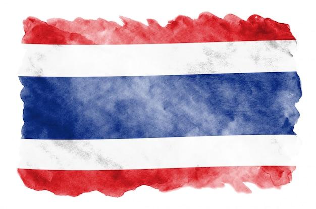 De vlag van thailand wordt afgebeeld in vloeibare aquarelstijl geïsoleerd op wit