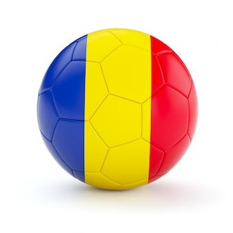 De voetbalbal van het voetbal met de vlag van roemenië
