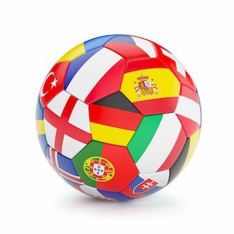 De voetbalbal van het voetbal met de vlaggen van het land van europa