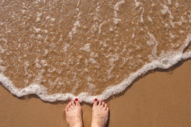 De voeten van wijfje bevinden zich op het strand van het de zomerzand