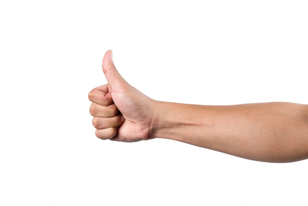 De volwassen duim van de mensenhand omhoog op wit