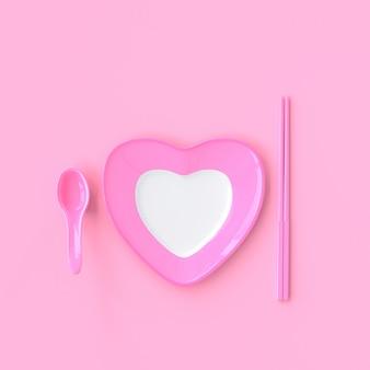 De vorm van het plaathart met lepel en eetstokjes roze kleur.
