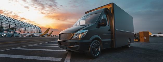 De vrachtwagen staat op de luchthaven. vliegtuig, vrachtwagen. 3d render en illustratie.