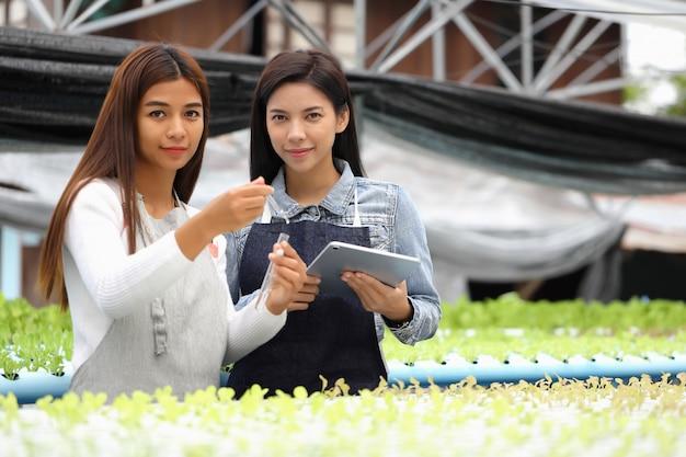 De vrouw die eigenaar is van de hydrocultuurgroenteboerderij en haar consultants. ze testen de wateromstandigheden in groenteplots.