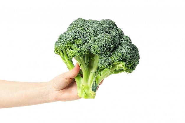 De vrouwelijke hand houdt broccoli, die op witte oppervlakte worden geïsoleerd