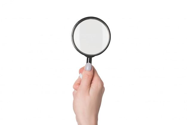 De vrouwelijke meer magnifier handholding isoleert