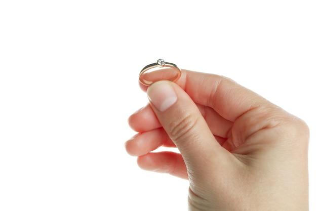 De vrouwelijke ring van de handgreep, die op witte achtergrond wordt geïsoleerd