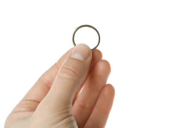 De vrouwelijke ring van de handgreep, die op witte achtergrond wordt geïsoleerd Premium Foto