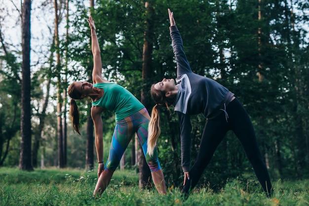 De vrouwelijke vrienden die yoga uitoefenen die in openlucht bevindende zijkromming of driehoek doen stellen in park