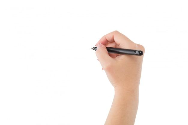 De vrouwenhand is klaar om met teller te schrijven op wit wordt geïsoleerd dat