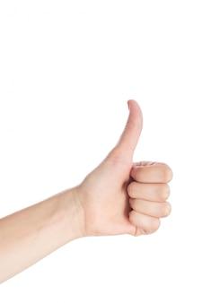 De vrouwenhand toont duim op gebaar isoleert op een witte achtergrond