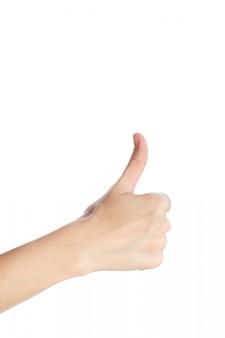 De vrouwenhand toont duim op gebaar isoleert