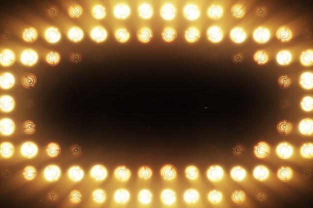 De wand van gloeilampen is helderoranje. led achtergrond