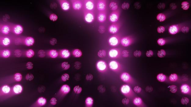 De wand van gloeilampen is helderpaars. led achtergrond