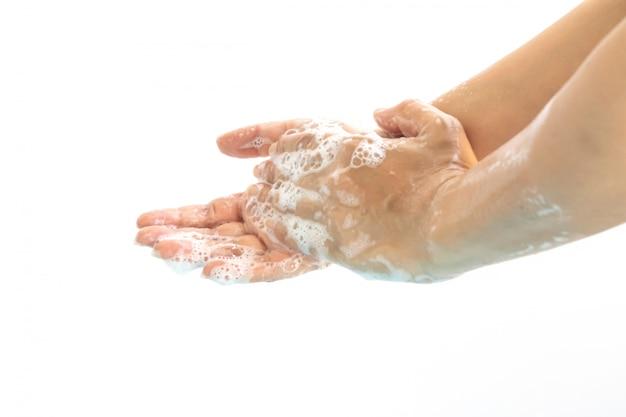 De washanden met zeep isoleren op witte achtergrond.