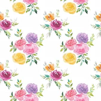 De waterverf bloeit naadloze geschilderde patroonhand
