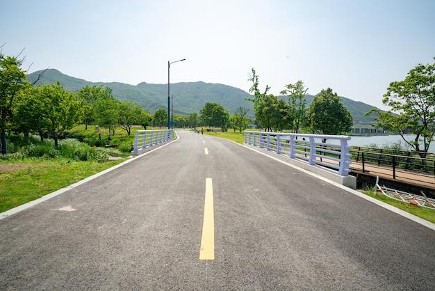 De weelderige bomen en snelwegen buiten Premium Foto