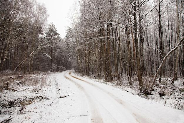 De weg bedekt met sneeuw in een winterseizoen