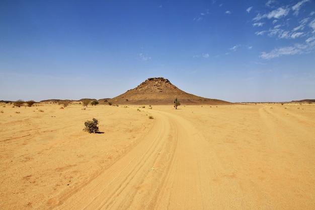 De weg in de woestijn van de sahara