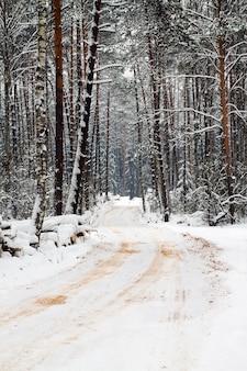 De weg in een winterseizoen