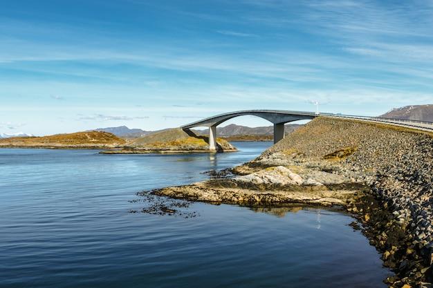 De weg van de atlantische oceaan onder blauwe hemel in noorwegen