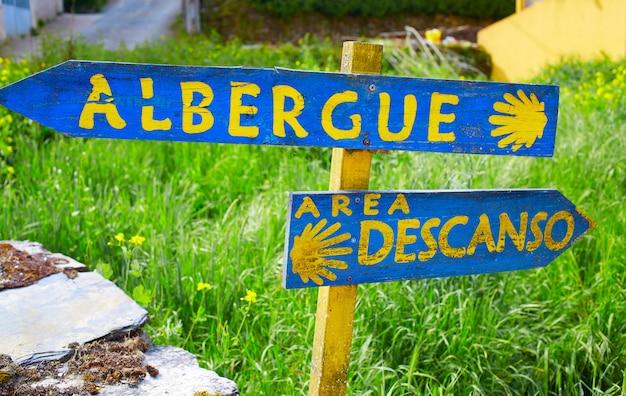 De weg van saint james in galicië shell teken