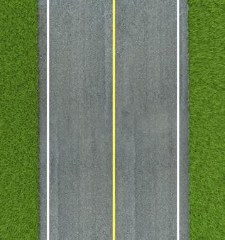 De wegtextuur van het asfalt, gele en witte lijn op weg