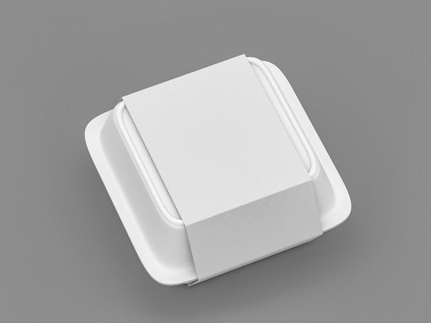 De wegwerp witte container van de voedseldoos met het geïsoleerde pak van het witboekdekkingetiket - lege 3d de dooscontainer van het malplaatjevoedsel - geef terug