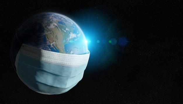 De wereld is bedekt met een chirurgisch masker van de pandemie van het coronavirus.