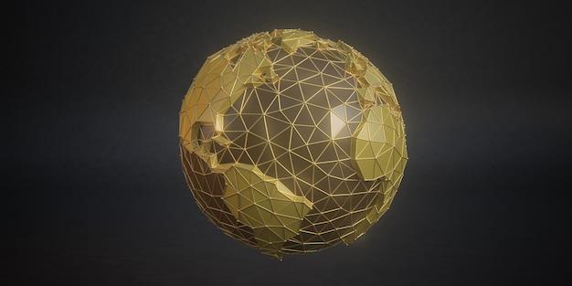 De wereld is een abstracte vorm. de bol bestaat uit een moderne driehoek. 3d veelhoekige aardepictogram. veelhoekige planeet. laag poly-ontwerp. virtuele continenten. creatieve technologie. 3d render.