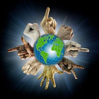 De wereldbol en de omringende handen van mensen van verschillende nationaliteiten. handgebaren. ecologie, protest, planeetveiligheid. racisme. illustratie. concept voor ontwerp en reclame.