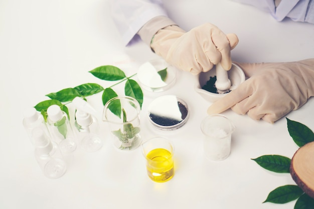 De wetenschapper, dokter, maakt alternatief kruidgeneesmiddel