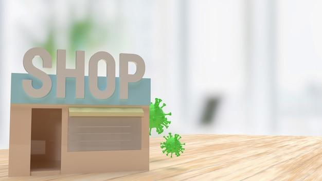 De winkel en het virus op tafel voor medische of zakelijke concept 3d-rendering