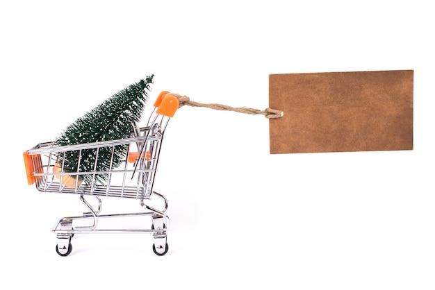 De winter komt eraan, schiet op! vrolijk kerstfeest! kosten geschenk van het concept van de kerstman. zijprofiel close-up foto van kleine kleine groene boom in metalen kar papier prijskaartje geïsoleerd witte achtergrond