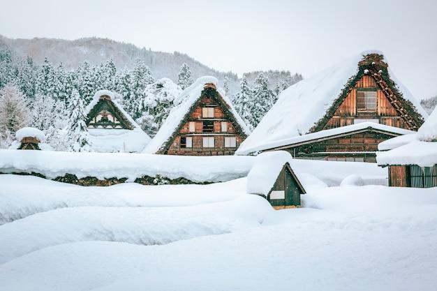 De wintersneeuw shirakawa gaat dorp in japan