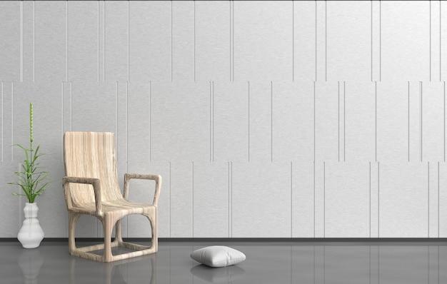 De witgrijze kamer is ingericht met een houten fauteuil, een vaas in glasvaas en witte kussens. 3d render