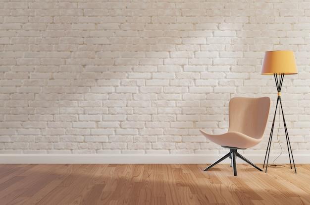 De witte bakstenen muur en de houten vloer, bespotten omhoog, kopiëren ruimte, het 3d teruggeven