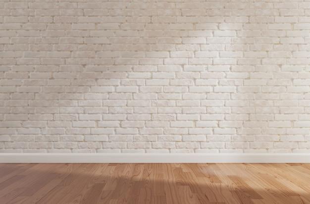 De witte bakstenen muur en de houten vloer, bespotten omhoog, kopiëren ruimte