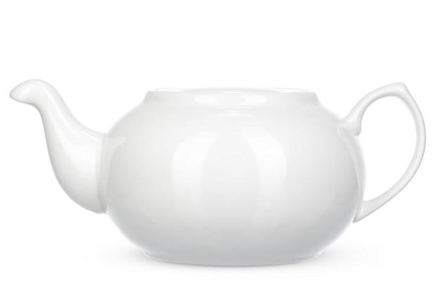 De witte ceramische ketel isoleert op witte achtergrond