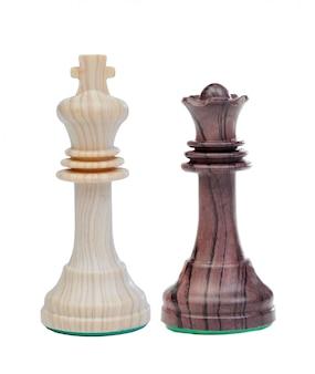 De witte koning en de zwarte koningin schaakstukken