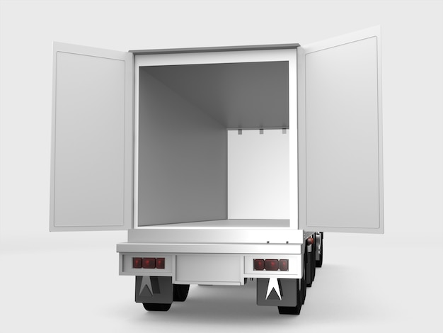 De witte ladingsvrachtwagen opent de deur op witte achtergrond