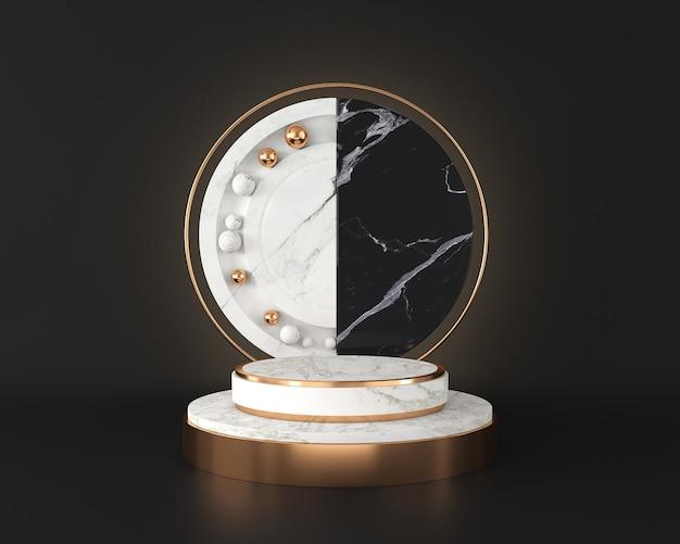 De witte marmeren vertoning van het stadiumpodium op zwarte muur, abstract minimaal concept
