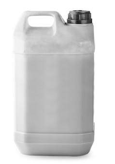 De witte plastic container met rode dop op witte achtergrond