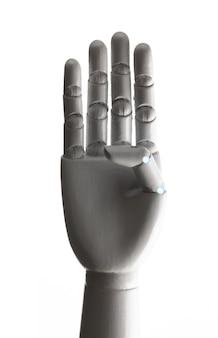 De witte robothand toont vier vingers die op witte achtergrond worden geïsoleerd